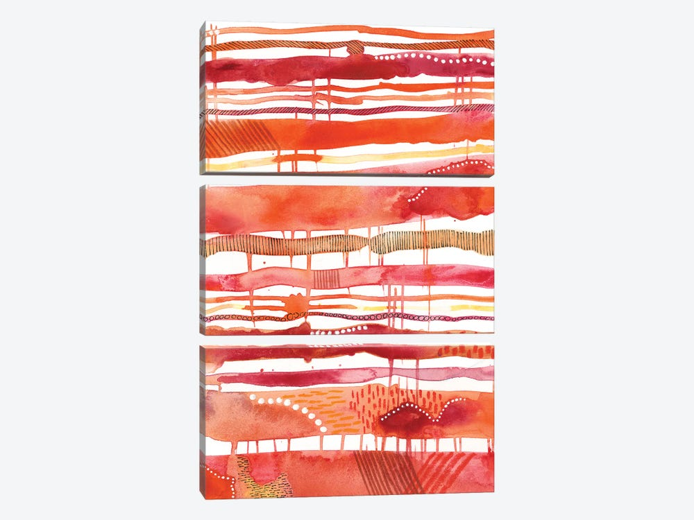 Tangerine Stripes I by Regina Moore 3-piece Canvas Wall Art