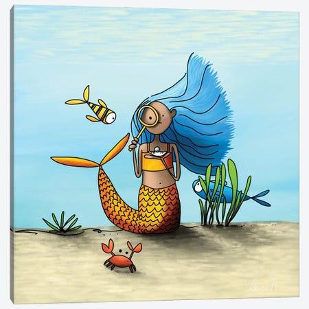 Curious Mermaid Canvas Print #REH15} by LaureH Canvas Art Print