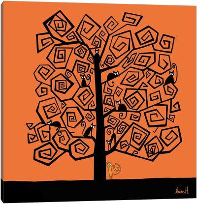 Halloween Cats Tree Canvas Art Print
