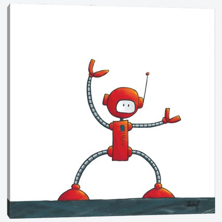Kung-Fu Robot Canvas Print #REH26} by LaureH Canvas Artwork