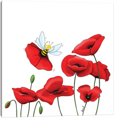 Poppies And Bee Canvas Art Print