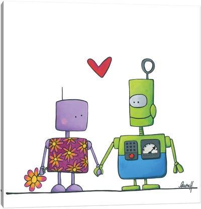 Robots In Love Canvas Art Print