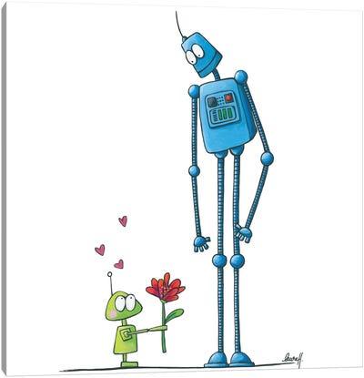 Robot In Love Canvas Art Print