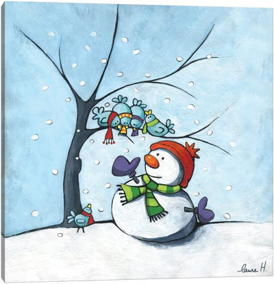 Snowman And Birds Canvas Art Print