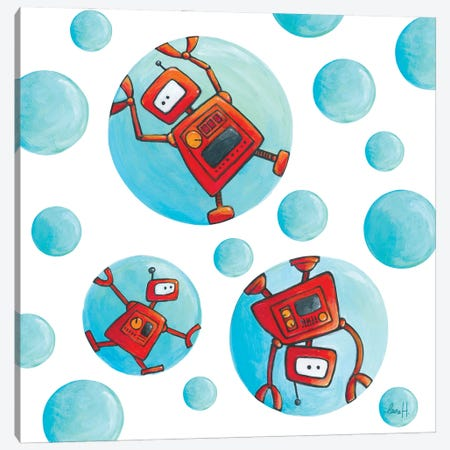 Robots In Soap Bubbles Canvas Print #REH37} by LaureH Canvas Print