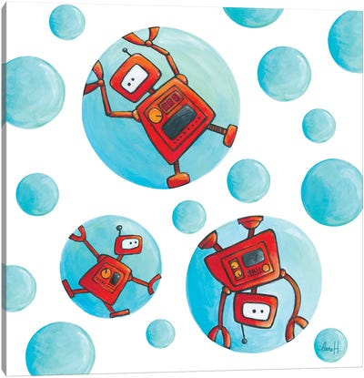 Robots In Soap Bubbles Canvas Art Print