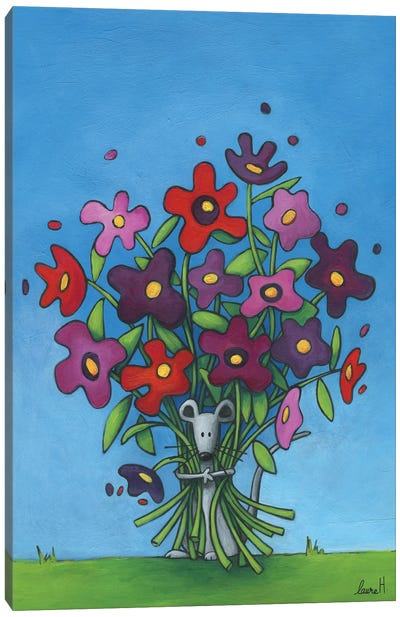 The Mouse And The Flowers Canvas Art Print