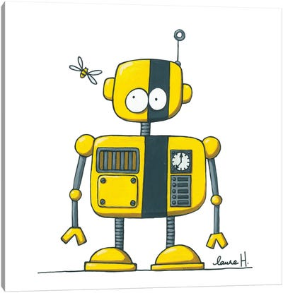 Robot And Bee Canvas Art Print