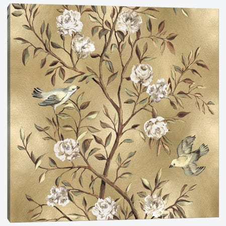Chinoiserie In Gold II 3-Piece Canvas #REN11} by Reneé Campbell Canvas Artwork
