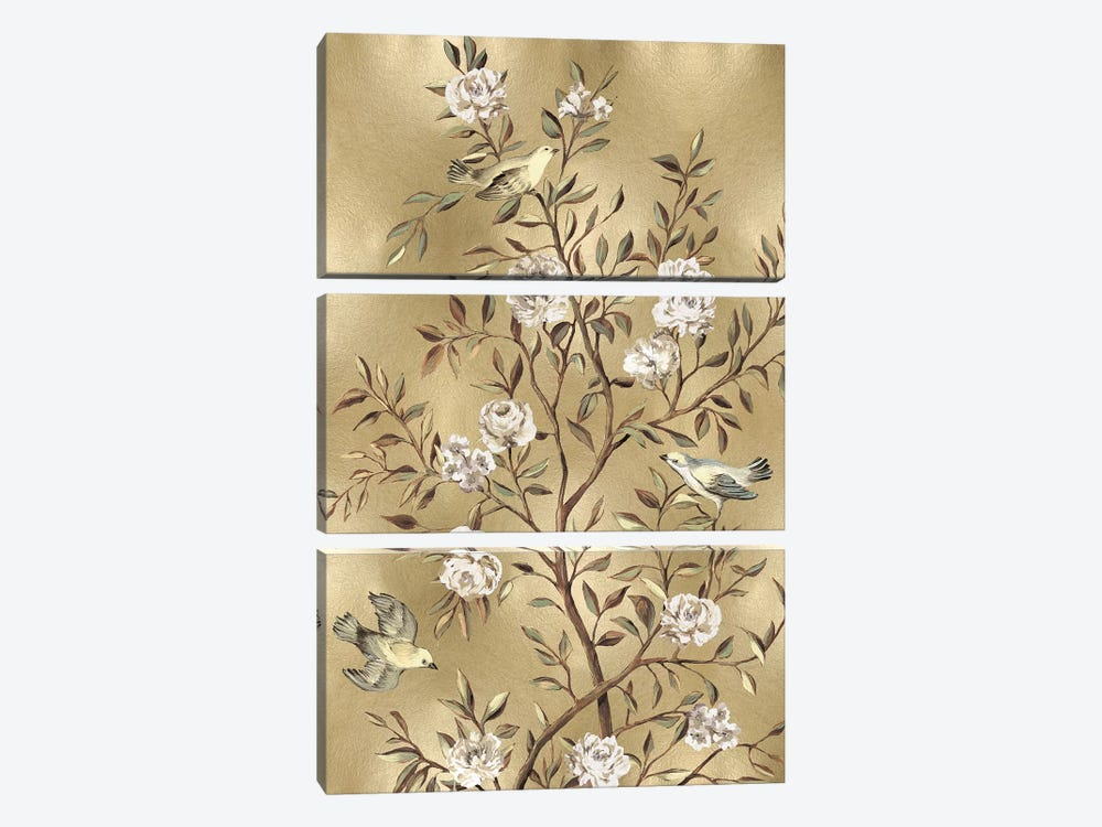 Chinoiserie In Gold III by Reneé Campbell 3-piece Canvas Print