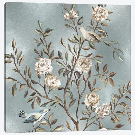 Chinoiserie In Silver I Canvas Print #REN13} by Reneé Campbell Canvas Wall Art