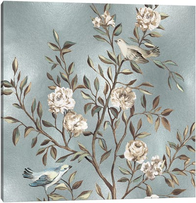 Chinoiserie In Silver I Canvas Print #REN13