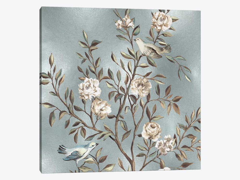 Chinoiserie In Silver I by Reneé Campbell 1-piece Canvas Artwork
