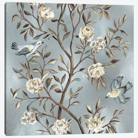 Chinoiserie In Silver II Canvas Print #REN14} by Reneé Campbell Art Print