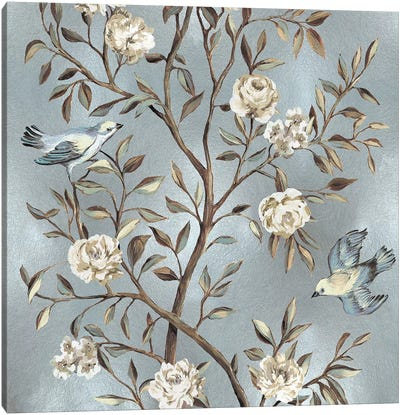 Chinoiserie In Silver II Canvas Art Print