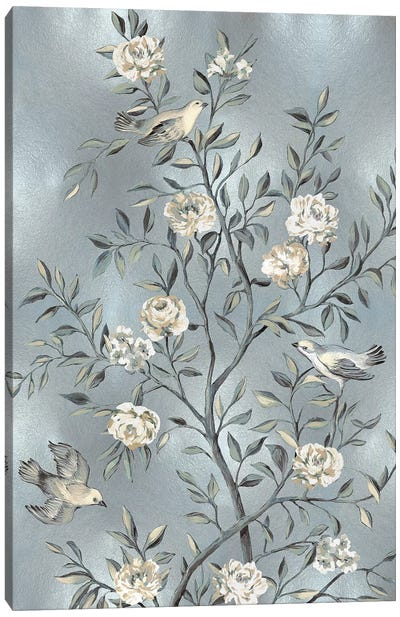 Chinoiserie In Silver III Canvas Print #REN15