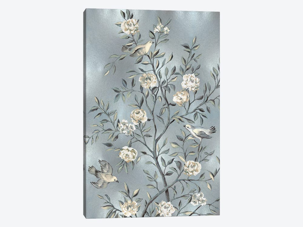 Chinoiserie In Silver III by Reneé Campbell 1-piece Canvas Artwork