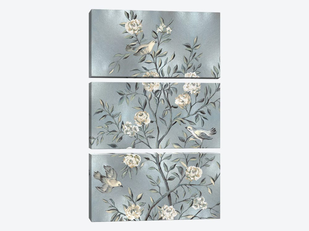 Chinoiserie In Silver III by Reneé Campbell 3-piece Canvas Art