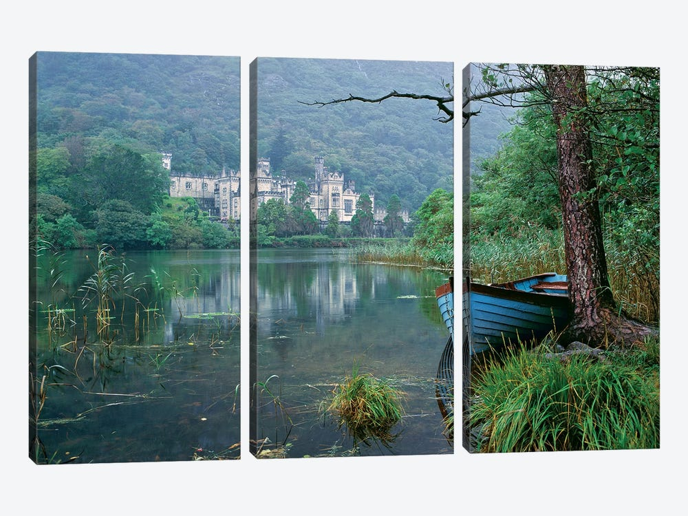 Europe, Ireland, Kylemore. A Light Rain Enhances The Impression Of Kylemore Abbey, In Connemara, Co. Galway, Ireland. by Ric Ergenbright 3-piece Canvas Art Print