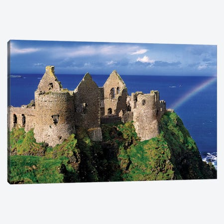 A Rainbow Strikes Medieval Dunluce Castle On The Antrim Coast In Co. Antrim In Northern Ireland. Canvas Print #RER3} by Ric Ergenbright Canvas Art Print