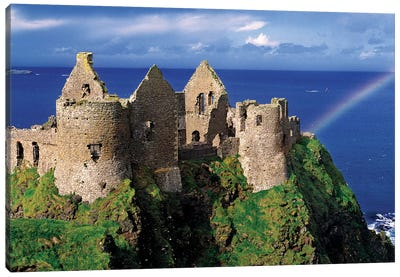 A Rainbow Strikes Medieval Dunluce Castle On The Antrim Coast In Co. Antrim In Northern Ireland. Canvas Art Print