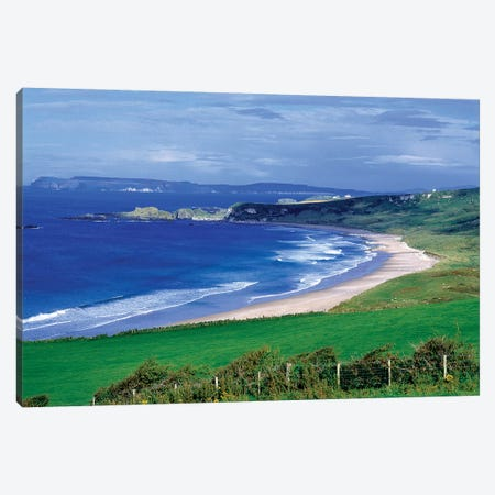 Northern Ireland, County Antrim, Whitepark Bay. Whitepark Bay Cuts Into The Deep Green Of The Antrim Coast, Northern Ireland. Canvas Print #RER9} by Ric Ergenbright Canvas Art Print