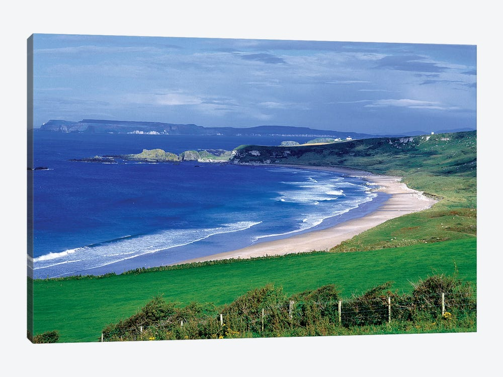Northern Ireland, County Antrim, Whitepark Bay. Whitepark Bay Cuts Into The Deep Green Of The Antrim Coast, Northern Ireland. by Ric Ergenbright 1-piece Canvas Art
