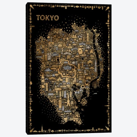 Glam Iconic Cities-Tokyo 3-Piece Canvas #RES13} by Rafael Esquer Art Print