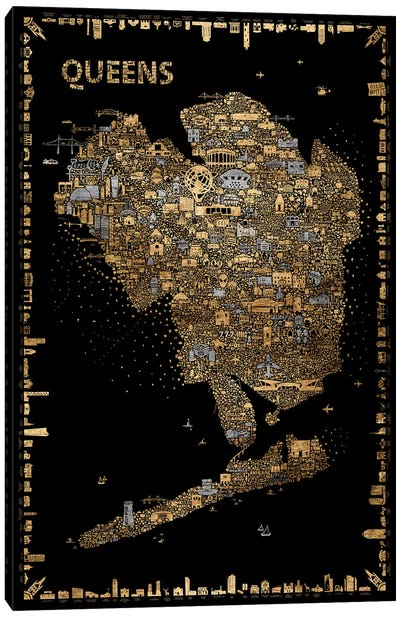 Glam New York Collection-Queens Canvas Art Print