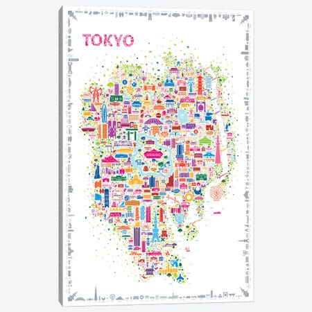 Iconic Cities-Tokyo Canvas Print #RES22} by Rafael Esquer Canvas Artwork