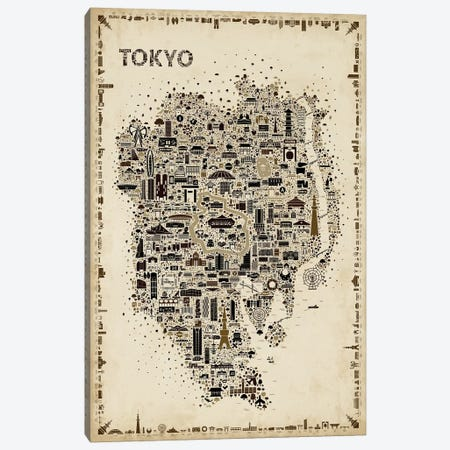 Antique Iconic Cities-Tokyo 3-Piece Canvas #RES4} by Rafael Esquer Art Print