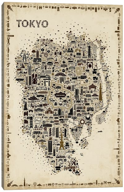 Antique Iconic Cities-Tokyo Canvas Art Print