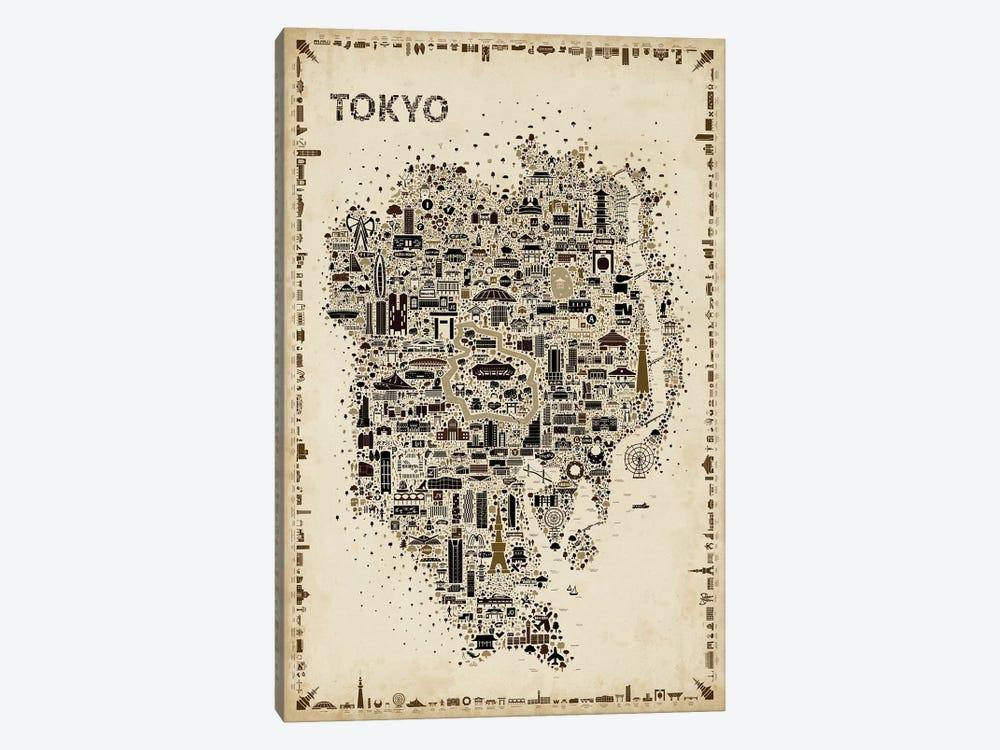 Antique Iconic Cities-Tokyo by Rafael Esquer 1-piece Canvas Art