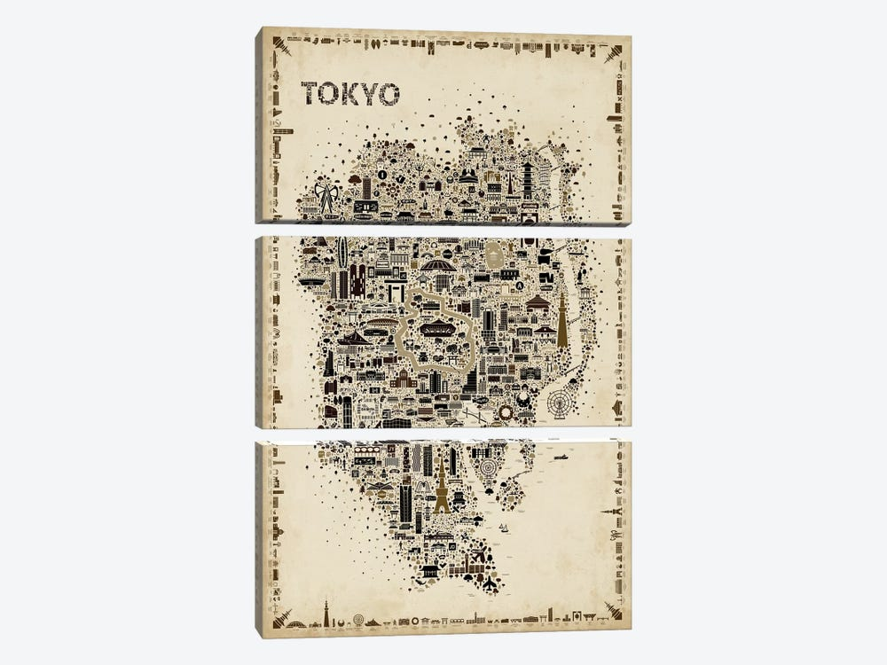 Antique Iconic Cities-Tokyo by Rafael Esquer 3-piece Canvas Wall Art