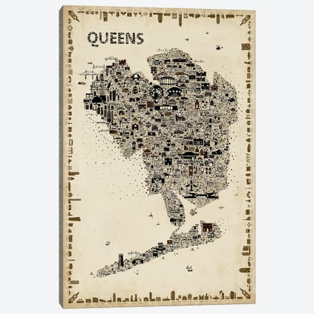 Antique New York Collection-Queens Canvas Print #RES9} by Rafael Esquer Canvas Art
