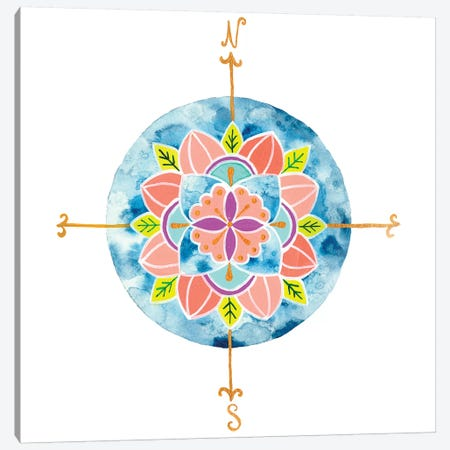 Blue Mandala I Canvas Print #REW1} by Rebekah Ewer Canvas Artwork