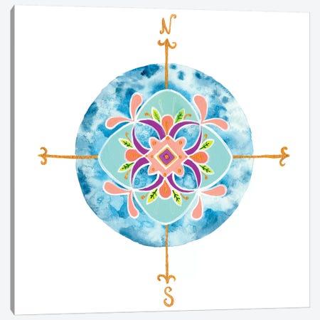 Blue Mandala II Canvas Print #REW2} by Rebekah Ewer Canvas Artwork