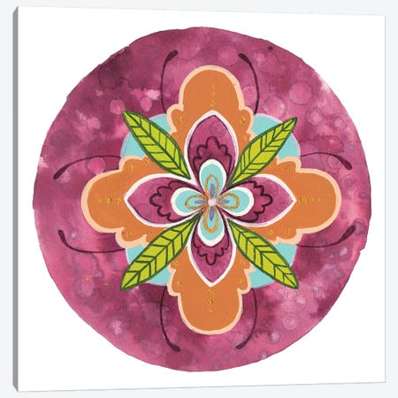 Maroon Mandala I Canvas Print #REW3} by Rebekah Ewer Canvas Wall Art