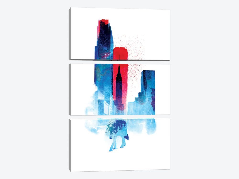 The Wolf Of The City by Robert Farkas 3-piece Canvas Wall Art