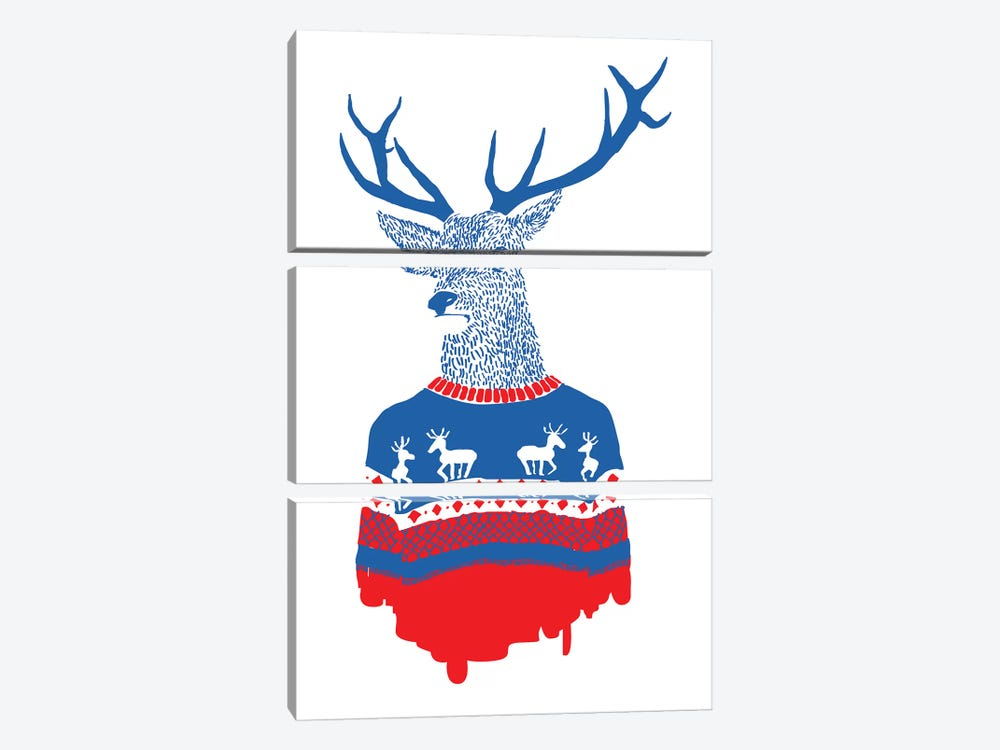 Ugly Winter Pullover by Robert Farkas 3-piece Art Print