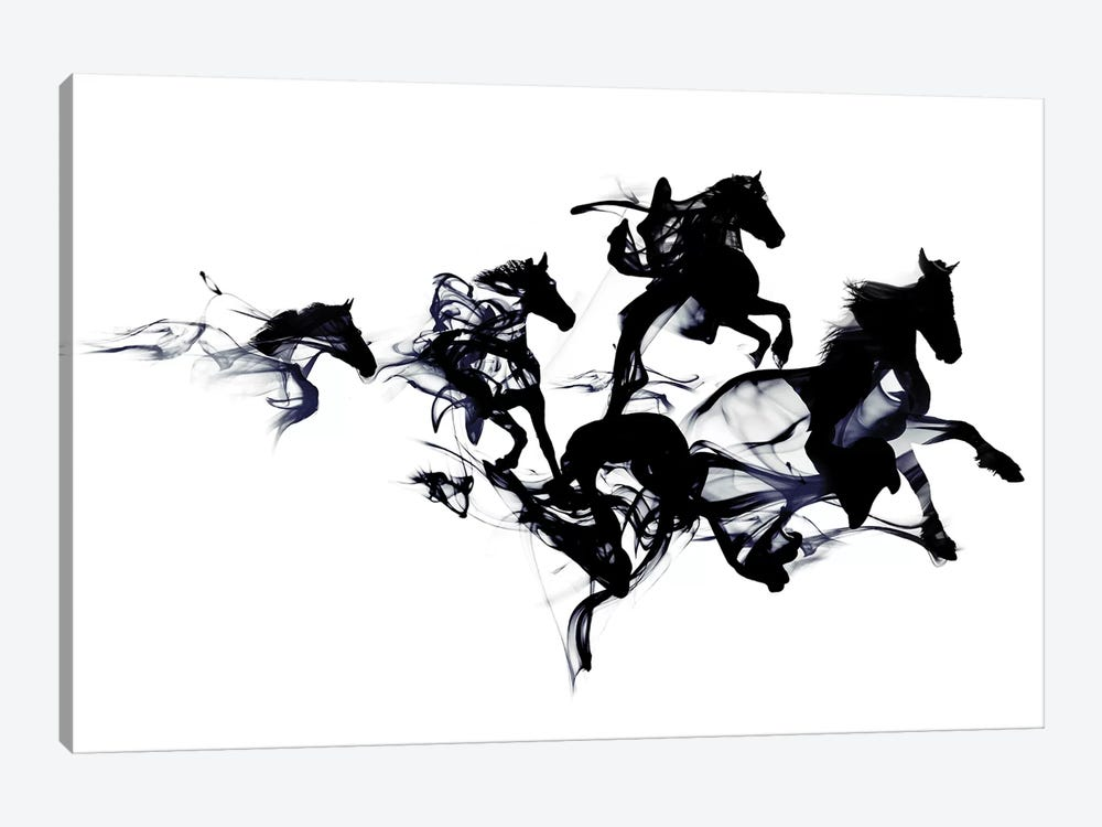 Black Horses 1-piece Canvas Artwork