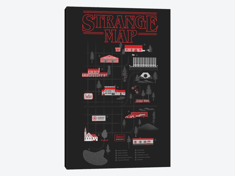 Strange Map by Robert Farkas 1-piece Canvas Print