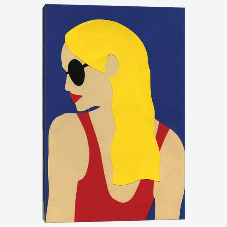 Sunglasses And Blond Hair Canvas Print #RFE100} by Rosi Feist Canvas Artwork