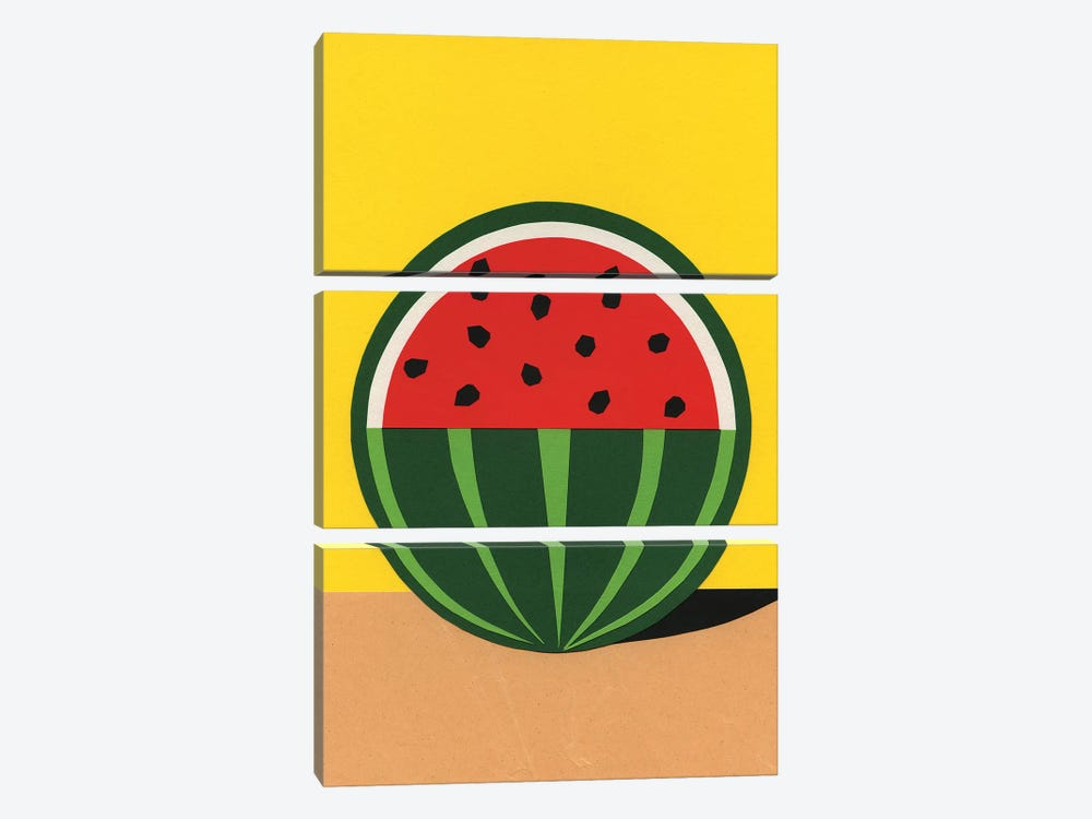 Three Quarter Watermelon by Rosi Feist 3-piece Canvas Print