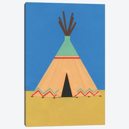 Tipi Green Red 3-Piece Canvas #RFE111} by Rosi Feist Canvas Print