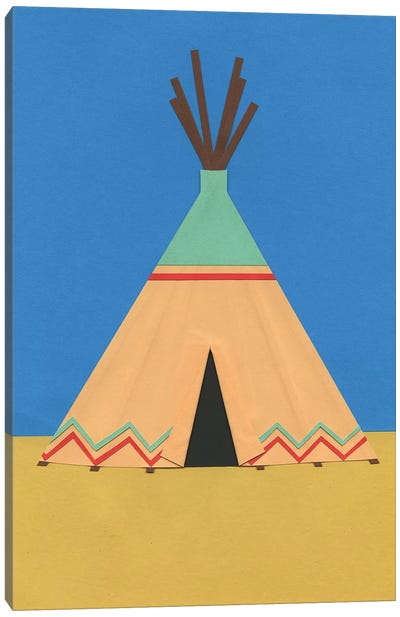 Tipi Green Red Canvas Art Print