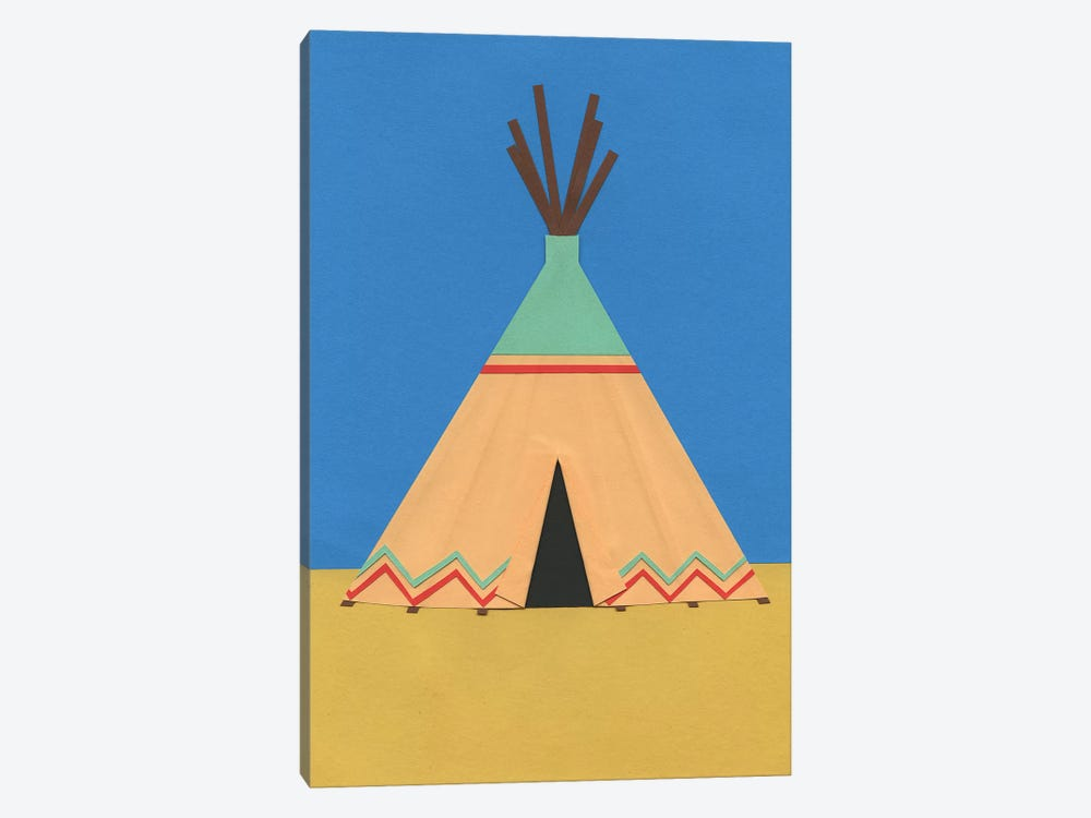 Tipi Green Red 1-piece Canvas Wall Art