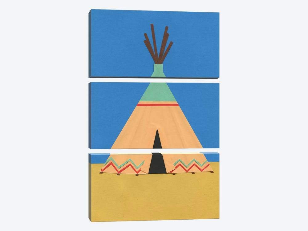 Tipi Green Red by Rosi Feist 3-piece Canvas Art