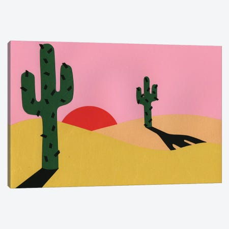 Two Cacti In The Desert Sun 3-Piece Canvas #RFE113} by Rosi Feist Canvas Print