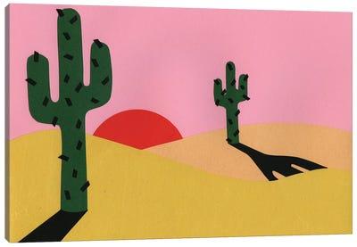 Two Cacti In The Desert Sun Canvas Art Print